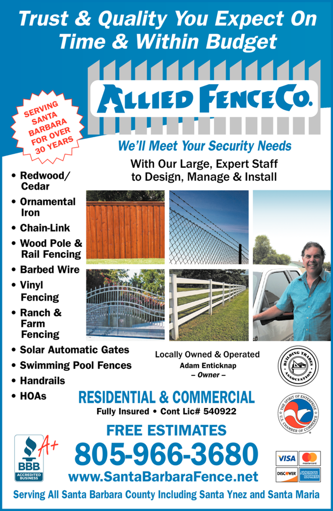 Yellow Pages Ad of Allied Fence Company