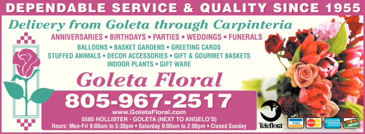 Yellow Pages Ad of Goleta Floral