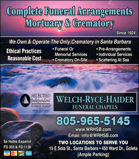 Yellow Pages Ad of Welch-Ryce-Haider Funeral Chapels
