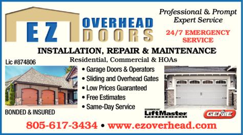 Yellow Pages Ad of Ez Overhead Doors