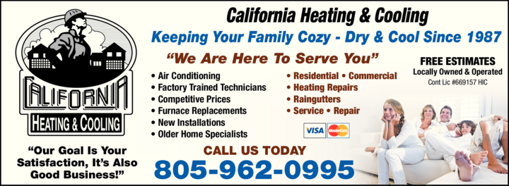 Yellow Pages Ad of California Heating & Cooling