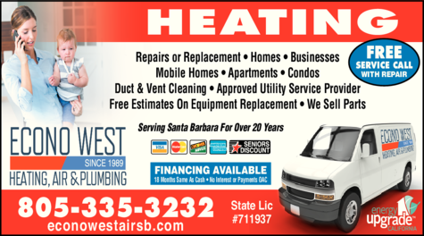 Yellow Pages Ad of Econo West Heating Air & Plumbing