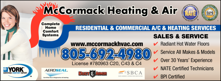 Yellow Pages Ad of Mccormack Heating & Air