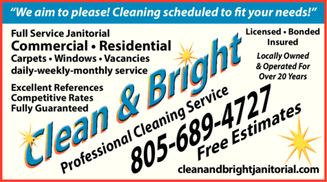 Yellow Pages Ad of Clean & Bright Janitorial Service