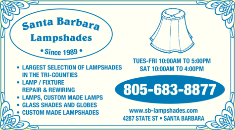 Yellow Pages Ad of Santa Barbara Lampshades