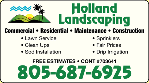 Yellow Pages Ad of Holland Landscaping