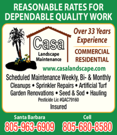 Yellow Pages Ad of Casa Landscape Maintenance