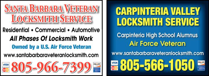 Yellow Pages Ad of Santa Barbara Veteran Locksmith Service