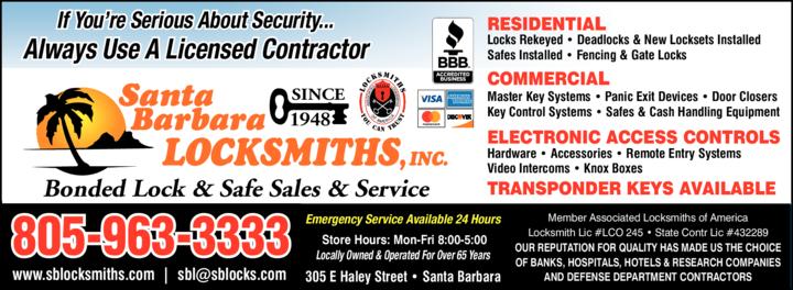 Yellow Pages Ad of Santa Barbara Locksmiths