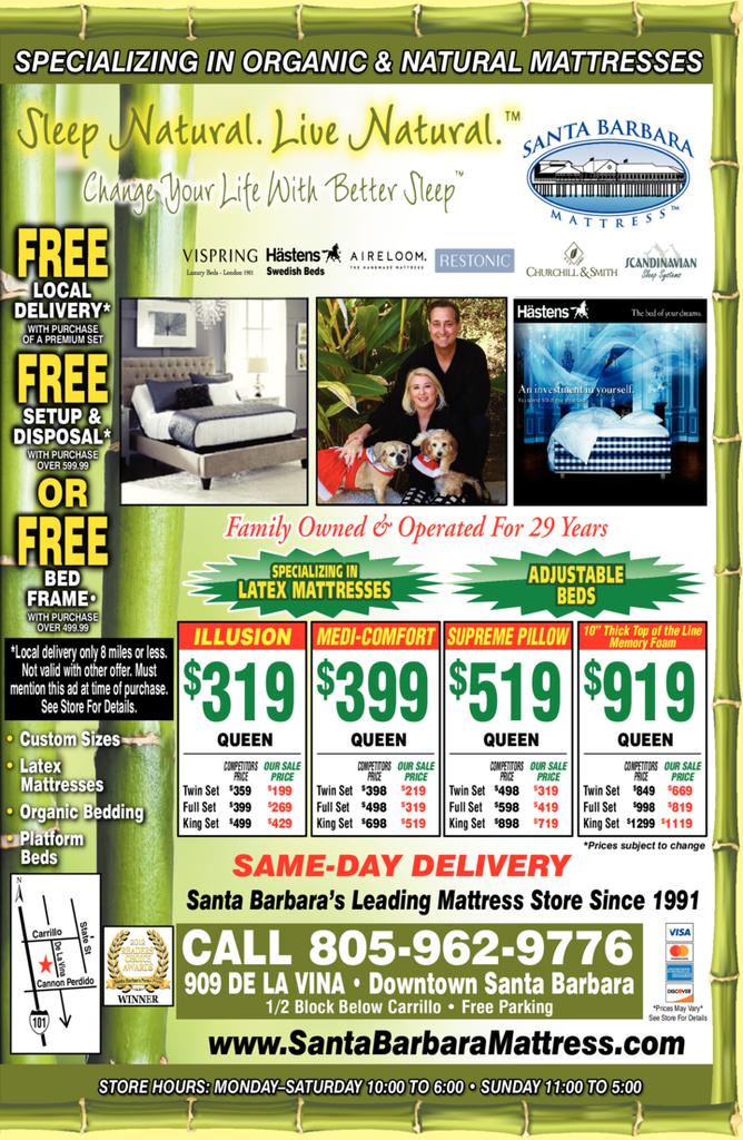Yellow Pages Ad of Santa Barbara Mattress