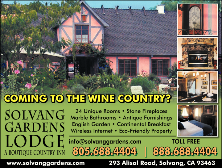 Yellow Pages Ad of Solvang Gardens Lodge