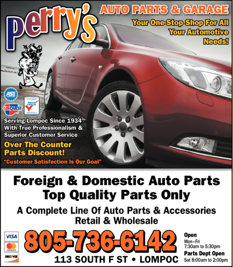 Yellow Pages Ad of Perry's Auto Parts & Garage