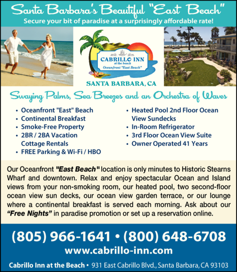 Yellow Pages Ad of Cabrillo Inn At The Beach