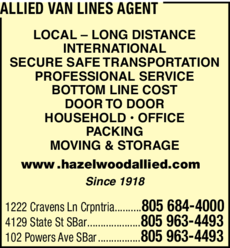 Yellow Pages Ad of Allied Van Lines Agent