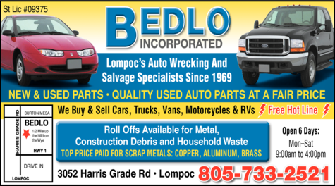 Yellow Pages Ad of Bedlo Auto Wrecking & Salvage Inc