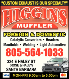 Yellow Pages Ad of Higgins Muffler