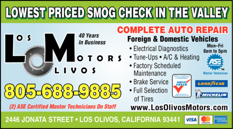Yellow Pages Ad of Los Olivos Motors