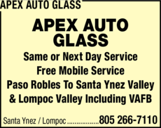 Yellow Pages Ad of Apex Auto Glass