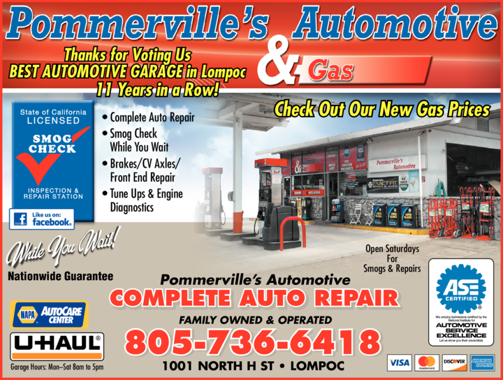 Yellow Pages Ad of Pommerville's Automotive & Gas