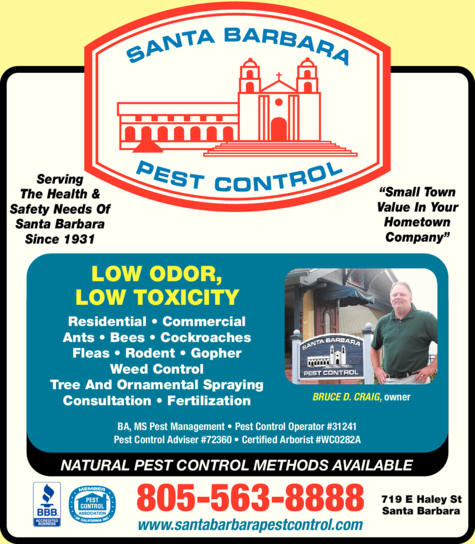 Yellow Pages Ad of Santa Barbara Pest Control