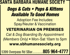 Yellow Pages Ad of Santa Barbara Humane Society