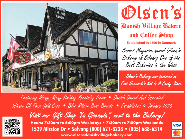 Yellow Pages Ad of Olsen's Danish Village Bakery & Coffee Shop