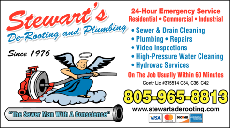 Yellow Pages Ad of Stewart's De-Rooting And Plumbing