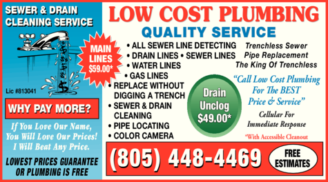 Yellow Pages Ad of Low Cost Plumbing