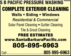 Yellow Pages Ad of S B Pacific Pressure Washing