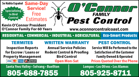 Yellow Pages Ad of O'Connor Family Pest Control