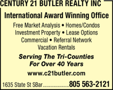 Yellow Pages Ad of Century 21 Butler Realty Inc