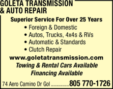 Yellow Pages Ad of Goleta Transmission & Auto Repair
