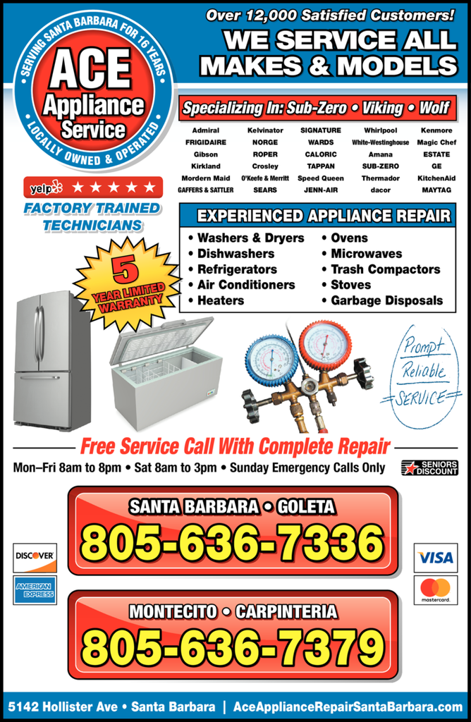 Yellow Pages Ad of Ace Appliance Service
