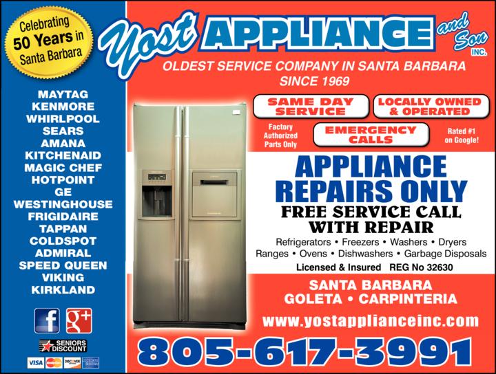 Print Ad of Yost Appliance Repair In Santa Barbara