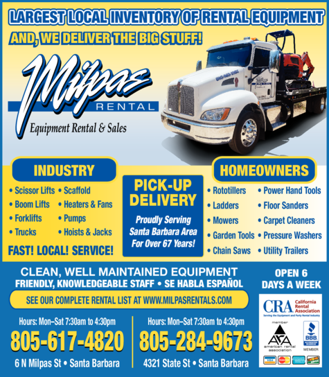Yellow Pages Ad of Milpas Rental Inc