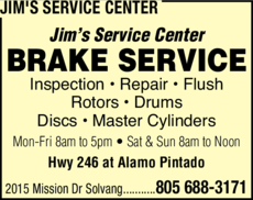 Yellow Pages Ad of Jim's Service Center
