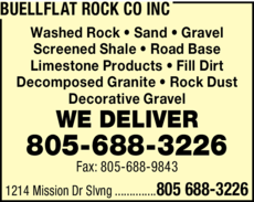 Yellow Pages Ad of Buellflat Rock Co Inc