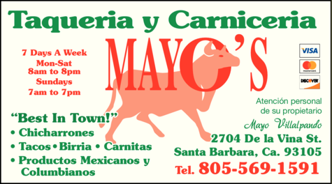 Yellow Pages Ad of Mayo's Taqueria Y Carniceria