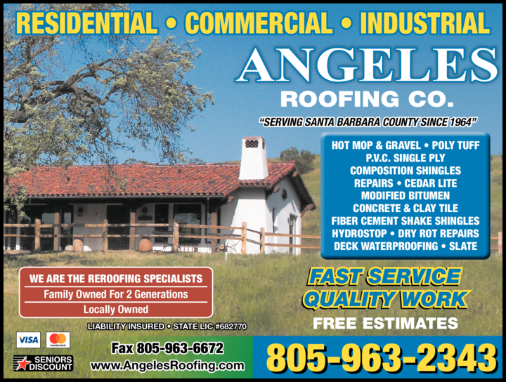 Yellow Pages Ad of Angeles Roofing