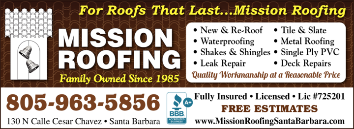 Yellow Pages Ad of Mission Roofing