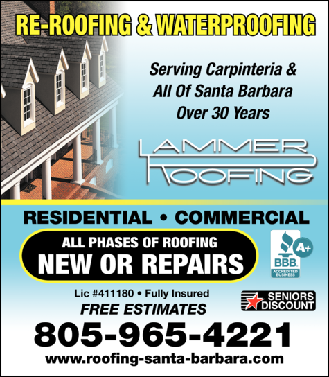 Yellow Pages Ad of Lammer Roofing