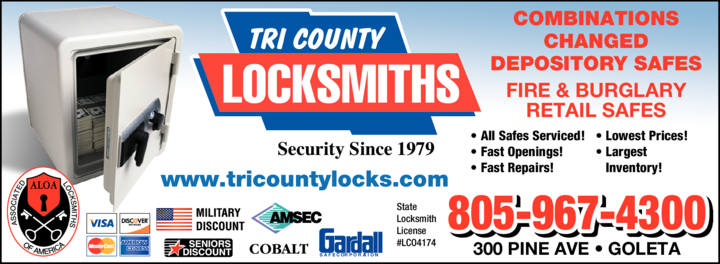 Yellow Pages Ad of Tri-County Locksmiths