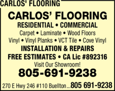 Yellow Pages Ad of Carlos' Flooring