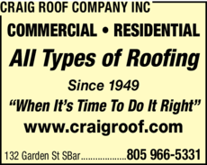 Yellow Pages Ad of Craig Roof Company Inc
