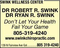 Yellow Pages Ad of Swink Wellness Center