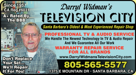 Yellow Pages Ad of Darryl Widman's Television City