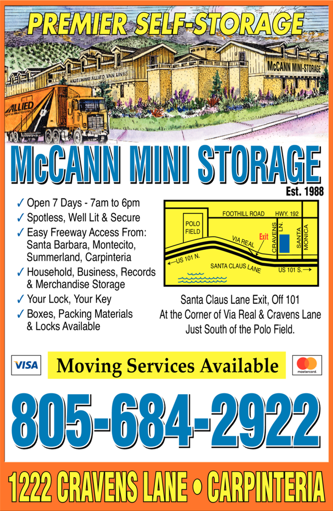 Yellow Pages Ad of Mccann Mini Storage