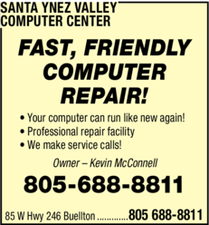 Yellow Pages Ad of Santa Ynez Valley Computer Center