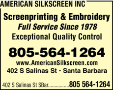 Yellow Pages Ad of American Silkscreen Inc