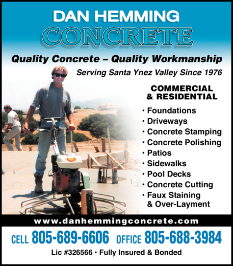 Yellow Pages Ad of Dan Hemming Concrete